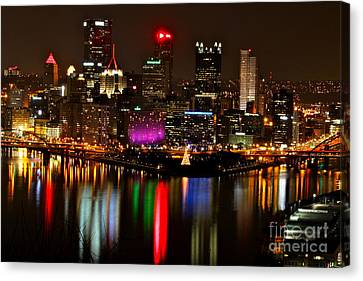Canvas Print featuring the photograph Pittsburgh Christmas At Night by Jay Nodianos