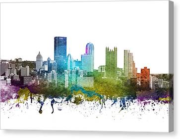 Pittsburgh Cityscape 01 Canvas Print by Aged Pixel