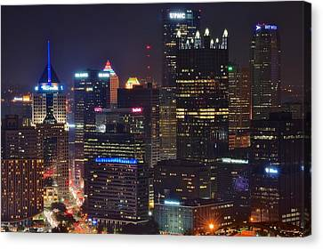 Pittsburgh Close Up From Above Canvas Print by Frozen in Time Fine Art Photography