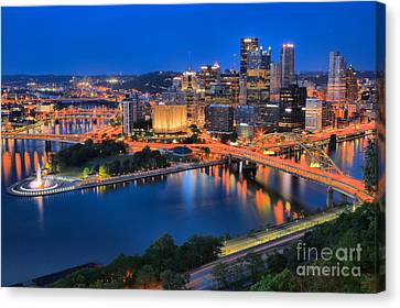 Pittsburgh Evening Glow Canvas Print by Adam Jewell