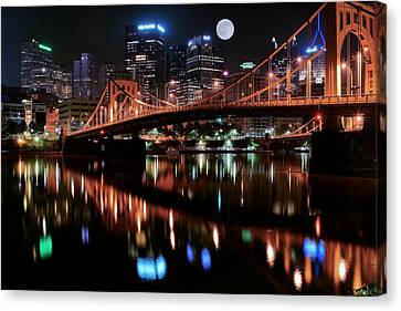 Pittsburgh Full Moon Canvas Print by Frozen in Time Fine Art Photography