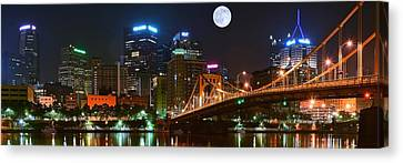 Pittsburgh Full Moon Panoramic Canvas Print by Frozen in Time Fine Art Photography