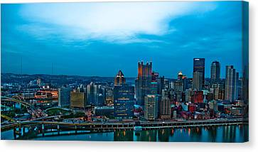 Pittsburgh In Hdr Canvas Print by Kayla Kyle