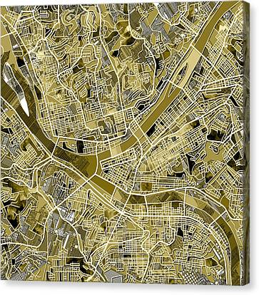 Pittsburgh Map Old Canvas Print