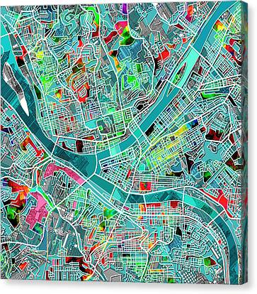 Pittsburgh Map Watercolor 4 Canvas Print by Bekim Art