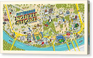 Hamburger Canvas Print - Pittsburgh North Shore Map by Ron Magnes