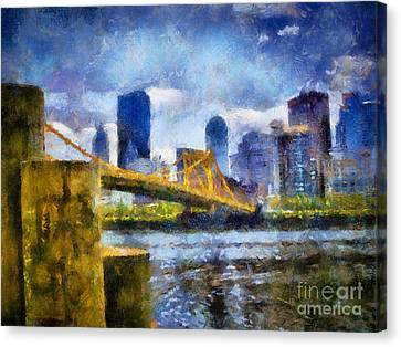 Pittsburgh North Shore Skyline Canvas Print by Amy Cicconi