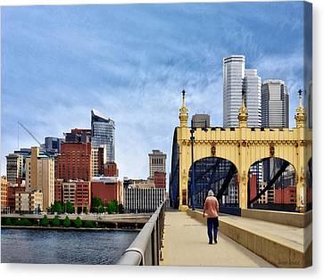 Pittsburgh Pa - Crossing The Smithfield Street Bridge Canvas Print by Susan Savad