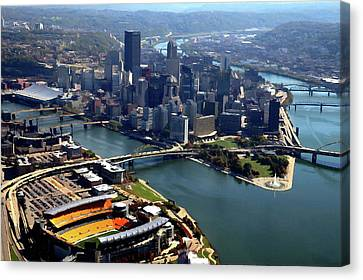 Pittsburgh, Pa - Heinz Field Digital Painting Aerial Canvas Print by Mattucci Photography