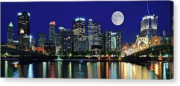 Upmc Canvas Print - Pittsburgh Panoramic Night With Moon by Frozen in Time Fine Art Photography