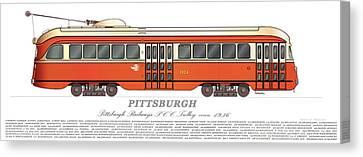 Pittsburgh Pcc Trolley Circa 1936 Canvas Print by Carlos F Peterson