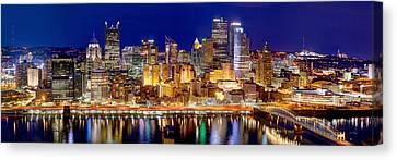 Pittsburgh Canvas Print - Pittsburgh Pennsylvania Skyline At Night Panorama by Jon Holiday