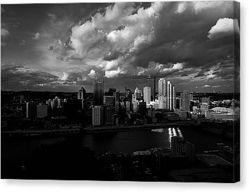 Canvas Print featuring the photograph Pittsburgh Pennsylvania Skyline Black And White  by David Haskett