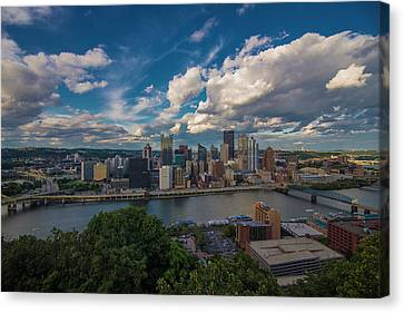 Canvas Print featuring the photograph Pittsburgh Pennsylvania Skyline Blue by David Haskett