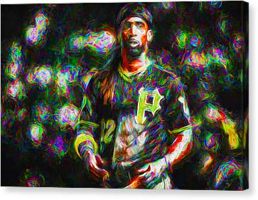 Pittsburgh Pirates Andrew Mccutchen Painted Canvas Print by David Haskett