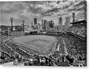 Pittsburgh Pirates Canvas Print - Pittsburgh Pirates Pnc Park Bw X by David Haskett