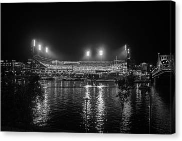 Pittsburgh Pirates Pnc Park Night Bw Canvas Print by David Haskett