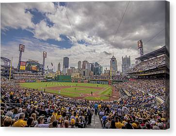 Pittsburgh Pirates Canvas Print - Pittsburgh Pirates Pnc Park X3 by David Haskett
