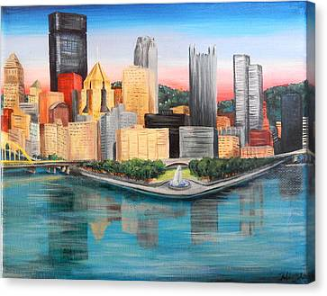 Pittsburgh Point And Three Rivers Canvas Print