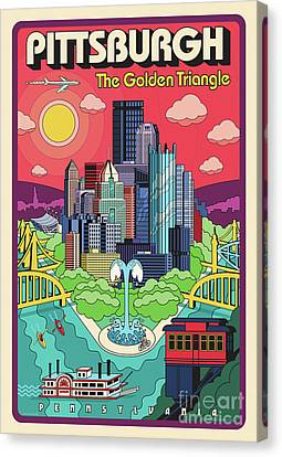 Pittsburgh Pop Art Travel Poster Canvas Print