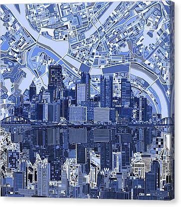 Pittsburgh Skyline Abstract 4 Canvas Print