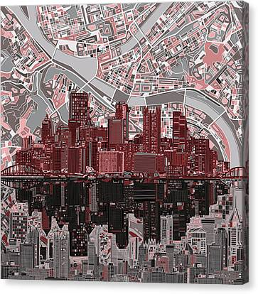 Pittsburgh Skyline Abstract 5 Canvas Print by Bekim Art