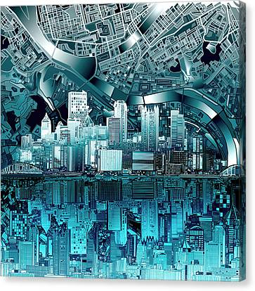 Pittsburgh Skyline Abstract Blue Canvas Print