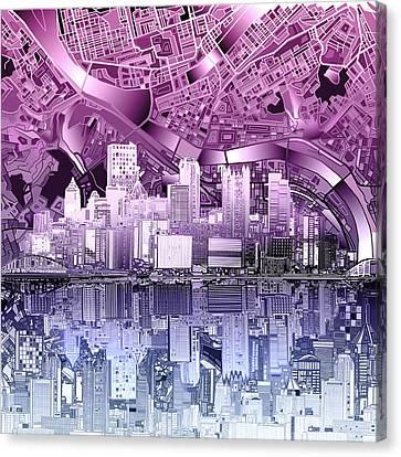 Pittsburgh Skyline Abstract Purple Canvas Print