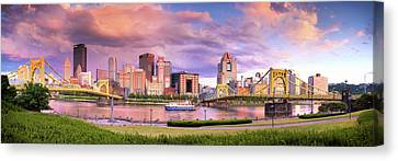 Pittsburgh Skyline After The Storm  Canvas Print by Emmanuel Panagiotakis