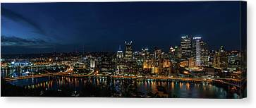 Upmc Canvas Print - Pittsburgh Skyline At Dusk Panoramic  by Terry DeLuco