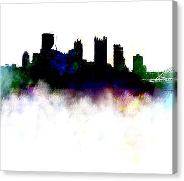 Penn Avenue Canvas Print - Pittsburgh Skyline Colors by Enki Art