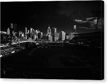 Pittsburgh Skyline Pnc Park Pirates Canvas Print by David Haskett