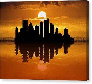 Pittsburgh Skyline Sunset Reflection Canvas Print by Dan Sproul