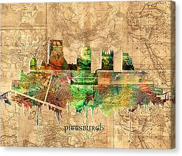 Pittsburgh Skyline Vintage 2 Canvas Print