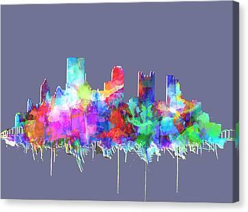 Pittsburgh Skyline Watercolor 3 Canvas Print