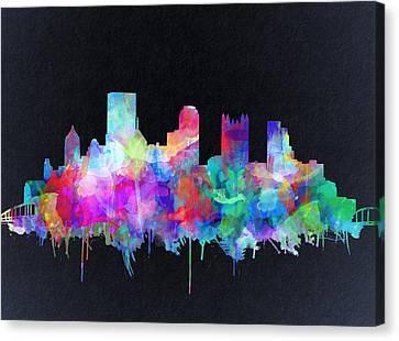 Pittsburgh Skyline Watercolor 6 Canvas Print
