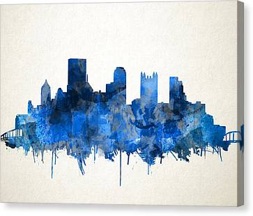 Pittsburgh Skyline Watercolor Blue Canvas Print