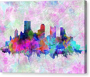 Pittsburgh Skyline Watercolor Canvas Print by Bekim Art
