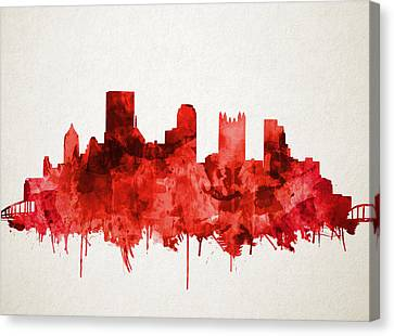 Pittsburgh Skyline Watercolor Red Canvas Print