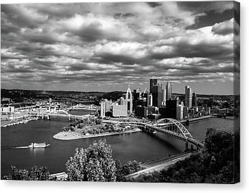 Pittsburgh Skyline With Boat Canvas Print