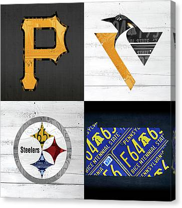 Pittsburgh Sports Team Logo Art Plus Pennsylvania Map Pirates Penguins Steelers Canvas Print
