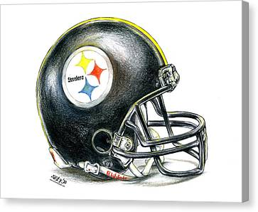 Football Canvas Print - Pittsburgh Steelers Helmet by James Sayer