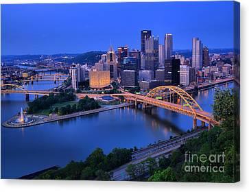 Pittsburgh Summer Skyline Canvas Print by Adam Jewell