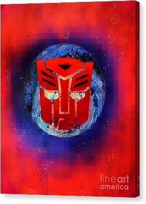 Pixeled Autobot Canvas Print by Justin Moore