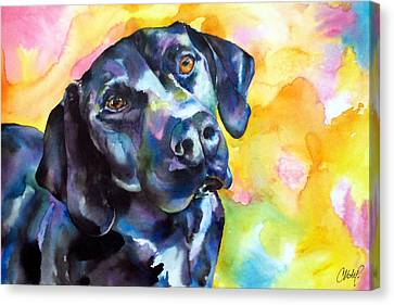 Pixie Dog - Black Lab Canvas Print by Christy  Freeman