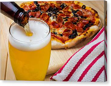 Glass Bottle Canvas Print - Pizza And Beer by Garry Gay