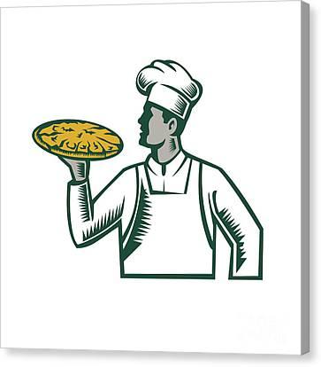 Pizza Chef Holding Pizza Woodcut Canvas Print by Aloysius Patrimonio