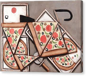 Tommervik Pizza Delivery Bicycle Art Print Canvas Print by Tommervik