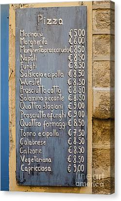 Pizza Menu Florence Italy Canvas Print