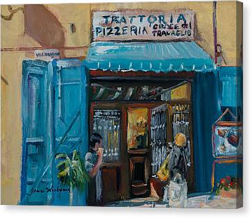 Italian Street Canvas Print - Pizzaria - Cortona by Jane Woodward